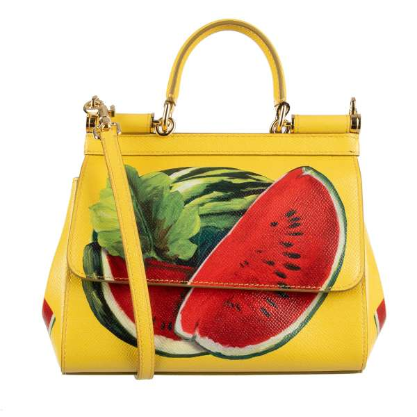 Dauphine Leather Tote / Shoulder Bag SICILY Small with Watermelon Print and metal logo plate by DOLCE & GABBANA