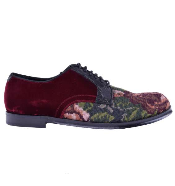 Barock-Schuhe au Samt mit Stickerei von DOLCE & GABBANA Black Label