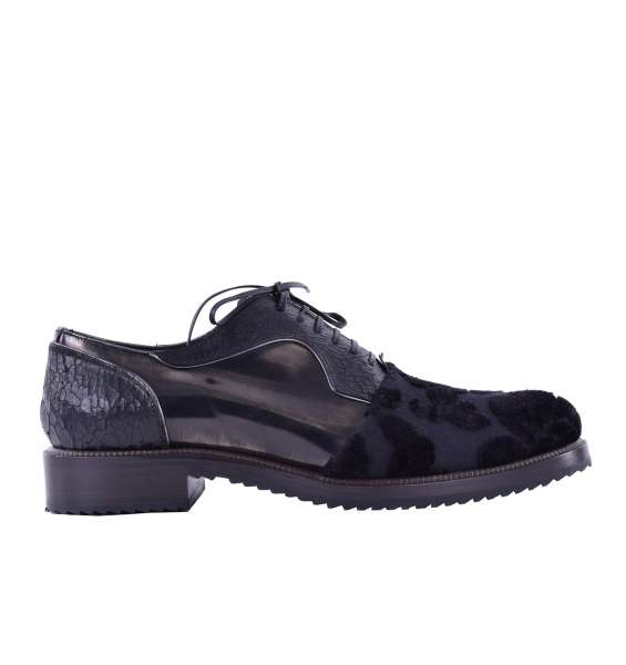 Stable patchwork derby shoes with brocade applications & metallic leather by DOLCE & GABBANA Black Label