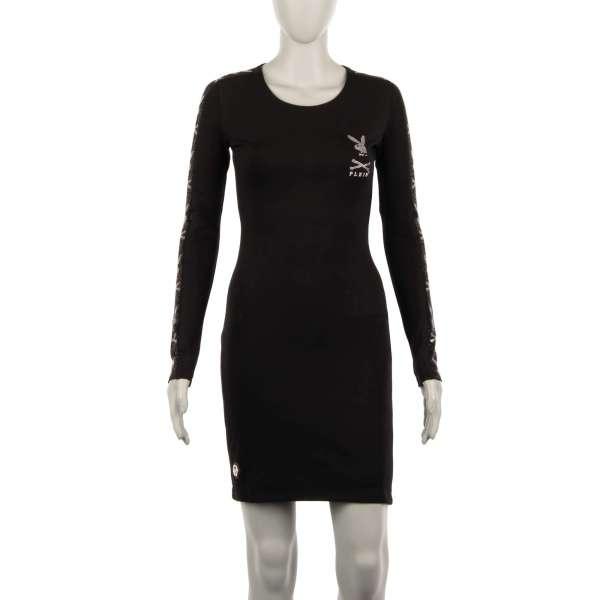 Kurzes und elastisches Kleid mit Skull Bunny Logo-Streifen aus Kristallen an den Ärmeln und Plein Playboy Logo aus Kristallen vorne von PHILIPP PLEIN X PLAYBOY