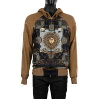 Hooded Cashmere and Silk Jacket with Royal Print Brown
