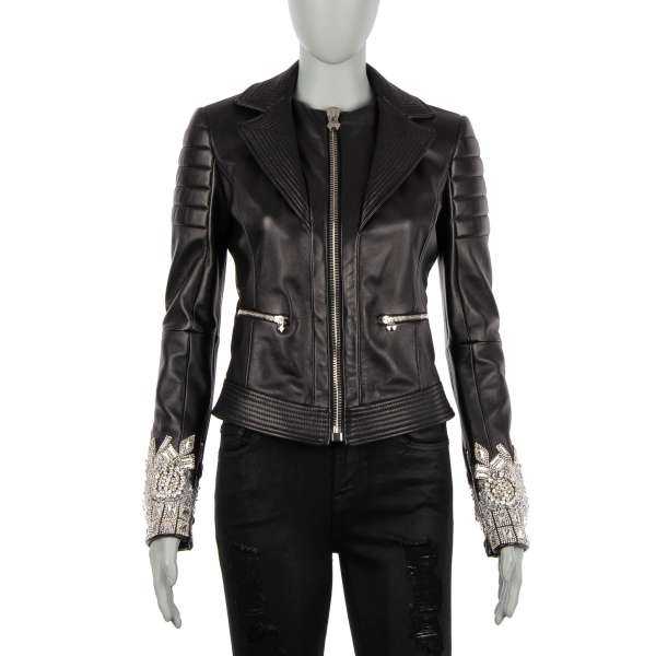 Leather Jacket TOGETHER with crystal embroidery on the sleeves in black by PHILIPP PLEIN COUTURE