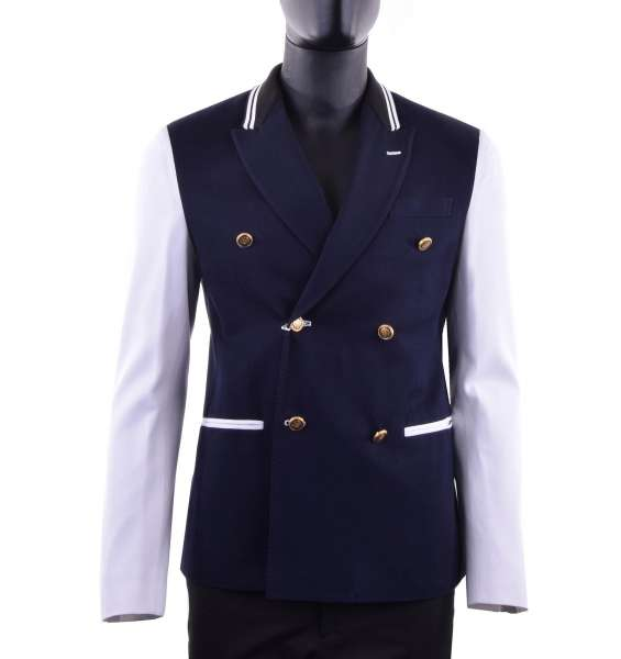 Navy Style jacket with golden metal buttons by MOSCHINO