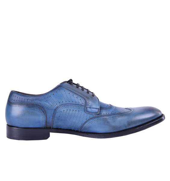 "Perforated Calfskin derby shoes ""Naples"" by DOLCE & GABBANA Black Label"