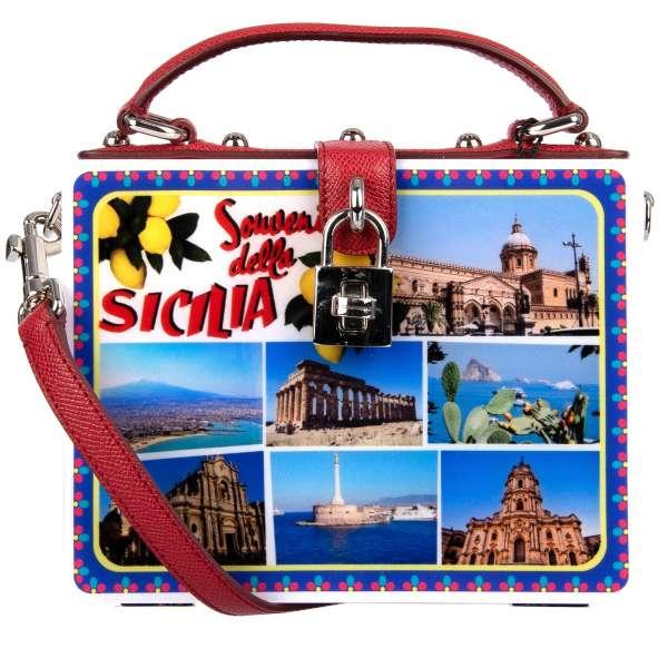 Sicilian postcards plexiglas bag / shoulder bag DOLCE BOX SICILY with decorative padlock and top handle by DOLCE & GABBANA Black Label