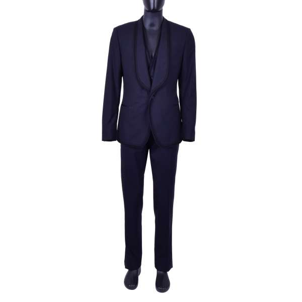 Spanisch style virgin wool 3-pieces suit with stripes texture and passementerie / trimmings embroidery by DOLCE & GABBANA Black Line