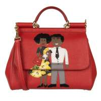 Tote Shoulder Bag SICILY with DG Family Motive Red