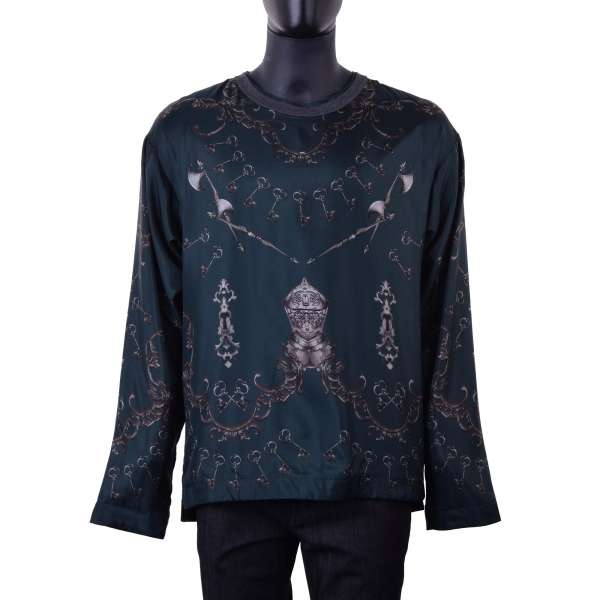 Armor and Keys printed lined silk longsleeve by DOLCE & GABBANA Black Label