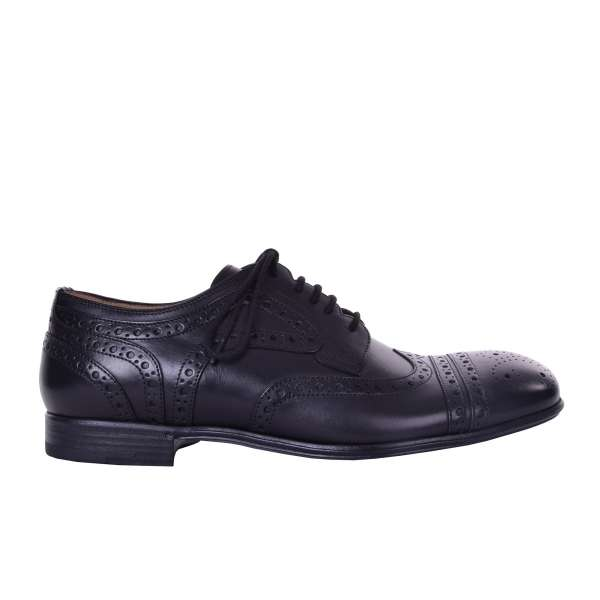 Formal wingtip brogue shoes in black mat leather by DOLCE & GABBANA Black Label