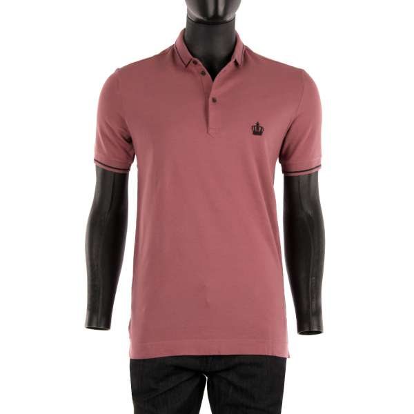 Crown embroidered cotton Polo-Shirt in Rose Pink with black contract stripes by DOLCE & GABBANA Black Label