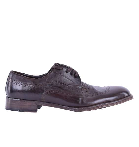 Kangaroo leather derby shoes SORRENTO with elastic inserts by DOLCE & GABBANA Black Label
