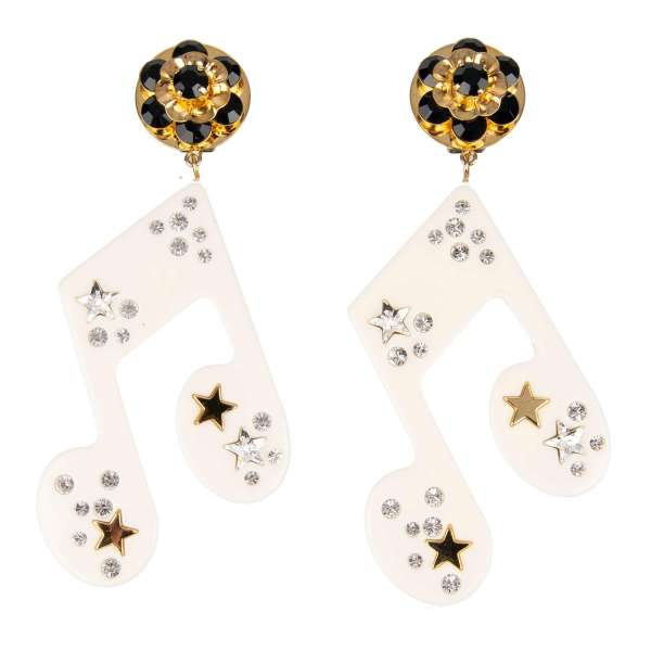 """Stelle"" Music Clip Earrings with Crystals and Star in Gold, White and Black by DOLCE & GABBANA"