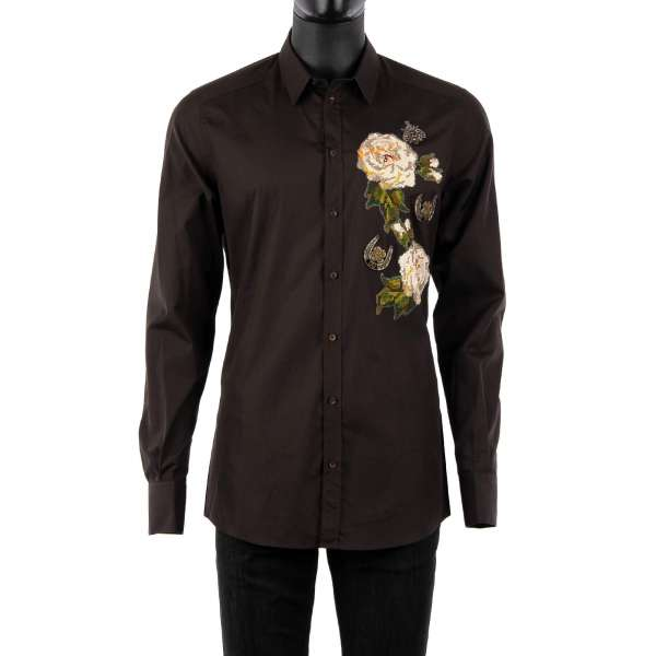 Shirt with short collar, hand embroidered roses and horseshoe / bee made of copper and crystals by DOLCE & GABBANA - GOLD Line