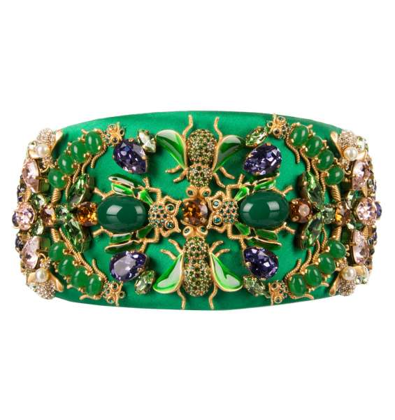 Hairband with bugs, flies brooches and crystals in Gold and Green by DOLCE & GABBANA