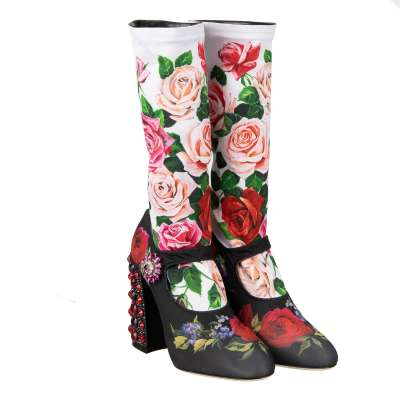 Roses Printed Elastic Socks Pumps VALLY with Crystals Heel Black White