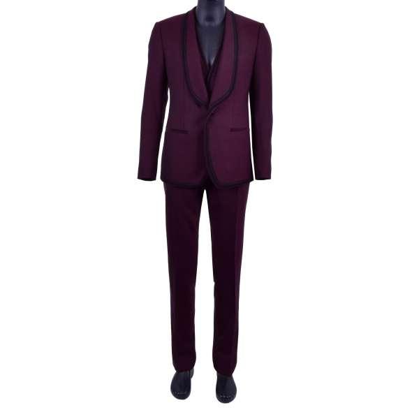 3-Teiliger Anzug aus Schurwolle im spanischen Stil mit Posamenten / Stickerei von DOLCE & GABBANA Black Label