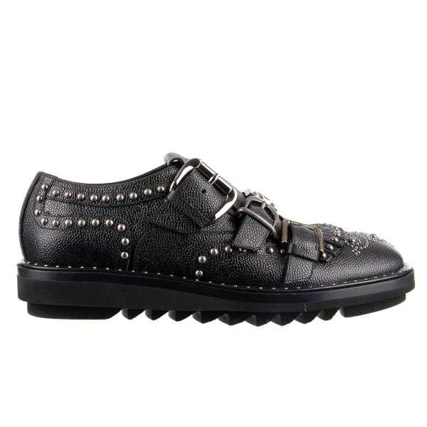 Feste Monk Schuhe MILANO aus strukturiertem Leder mit Schnallen-Verschluss, vielen Nieten und Logo Schild von DOLCE & GABBANA