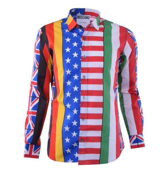"""Printed Cotton Shirt """"Flags"""" by MOSCHINO COUTURE"""