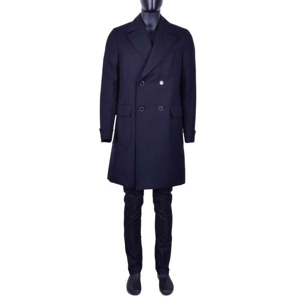 Double-breasted Slim Fit Coat made of Virgin Wool by DOLCE & GABBANA Black Line