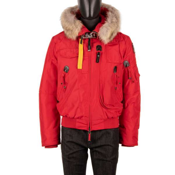 Short Bomber / Down Jacket GOBI with a detachable real fur trim, hoody, many pockets and a removable down-filled lining in Scarlet Red