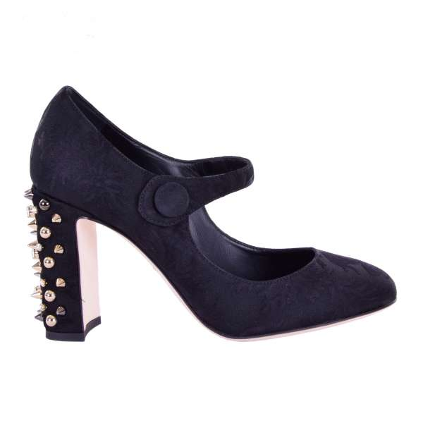 Baroque Brocade Mary Jane Pumps VALLY with crystals and studs embellished heel in black by DOLCE & GABBANA Black Label