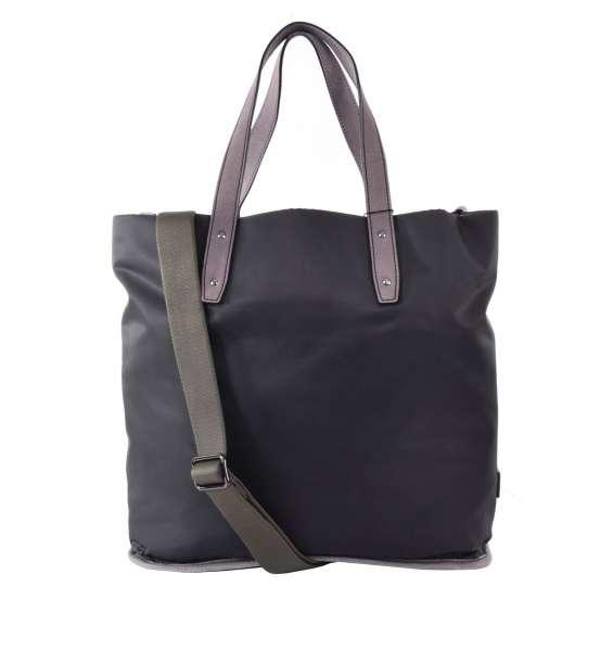 Shopper Tasche / Weekender aus Nylon und Leder mit Logo-Schild von DOLCE & GABBANA Black Label