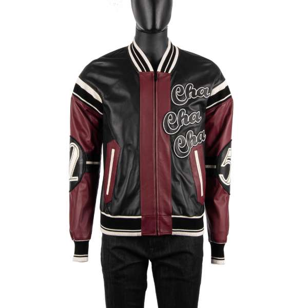 Embroidered sheep leather jacket with embroidered Cello and wordings Club Lounge, Cha Cha Cha, Numbers 58 and 62 and knitted details by DOLCE & GABBANA
