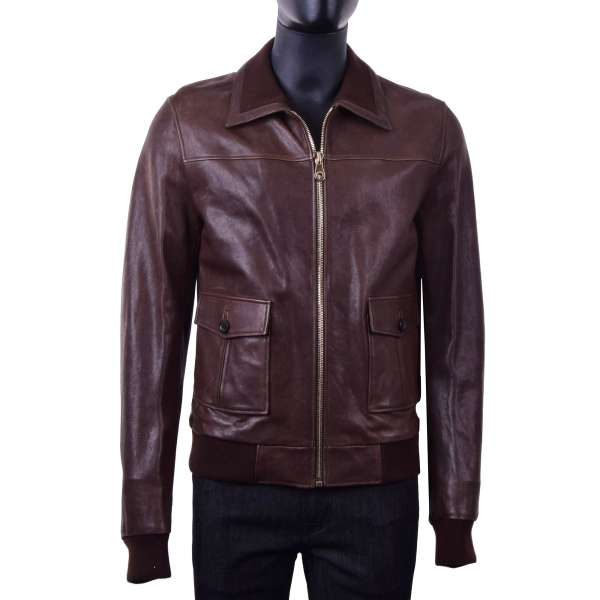 Nappa lamb leather jacket with knitted collar by DOLCE & GABBANA Black Line
