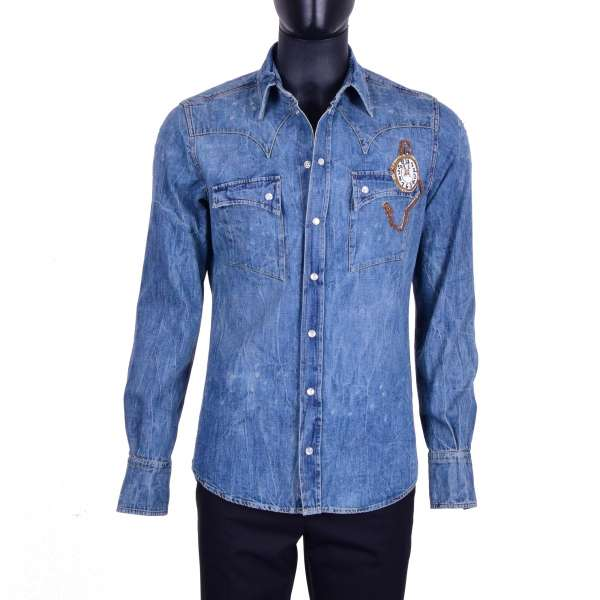 Destroyed Jeans / Denim Shirt with golden clock embroidery by DOLCE & GABBANA Black Label