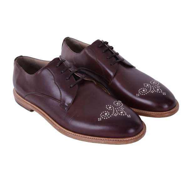 Silver studded calfskin derby shoes MARSALA by DOLCE & GABBANA Black Label