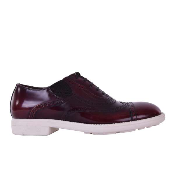 Patent leather derby shoes MILANO with stitched details and elastic inserts by DOLCE & GABBANA Black Label