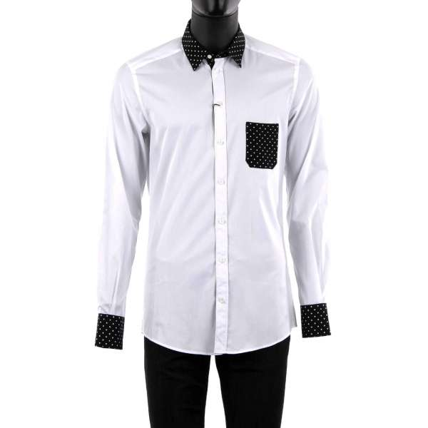 Shirt with short contrast collar, chest pocket and cuffs made of silk with polka dot print by DOLCE & GABBANA - GOLD Line