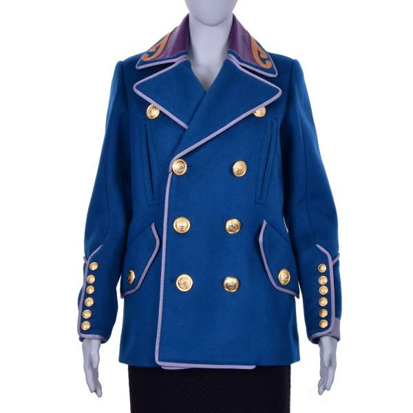 Double-Breasted royal military style short coat / jacket with golden buttons and snakeskin collar by DSQUARED2