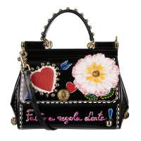 Heart and Flowers Bag SICILY Amore with Studs Black