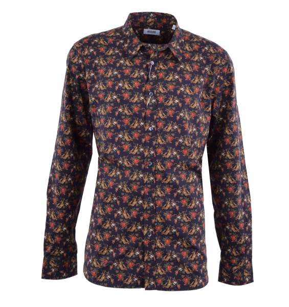 "Printed Cotton Shirt with ""Music & Roses"" Print by MOSCHINO First Line"