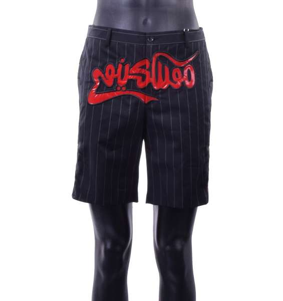 Striped Short made of wool and cotton with sewed applications by MOSCHINO COUTURE