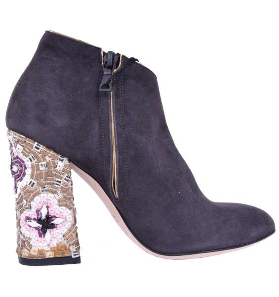 Mosaic Heel Suede Booties by DOLCE & GABBANA Black Label
