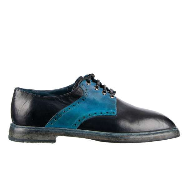 Bi-Color Vintage / Used Look Derby Shoes MARSALA made of calfskin in blue and navy by DOLCE & GABBANA