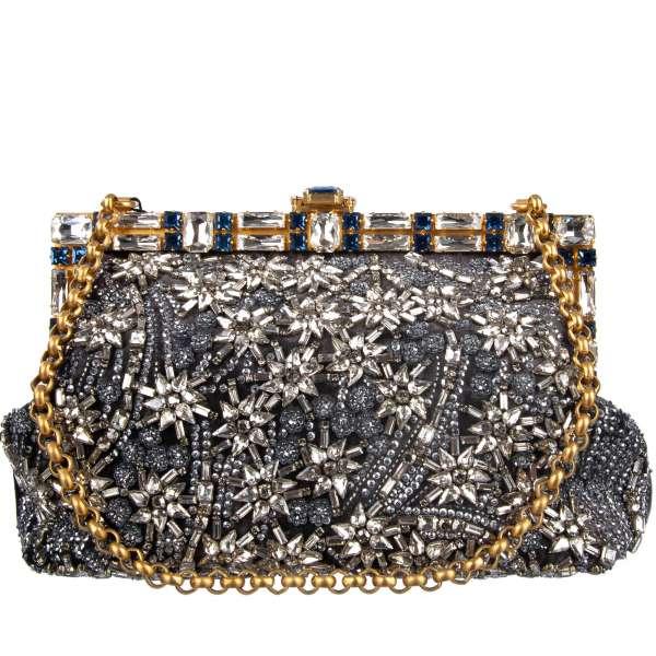 Clutch / Abendtasche VANDA aus Samt geschmückt mit Stickerei aus Kristallen und Pailletten und mit Kristallen beschmücktem Rahmen von DOLCE & GABBANA Black Label