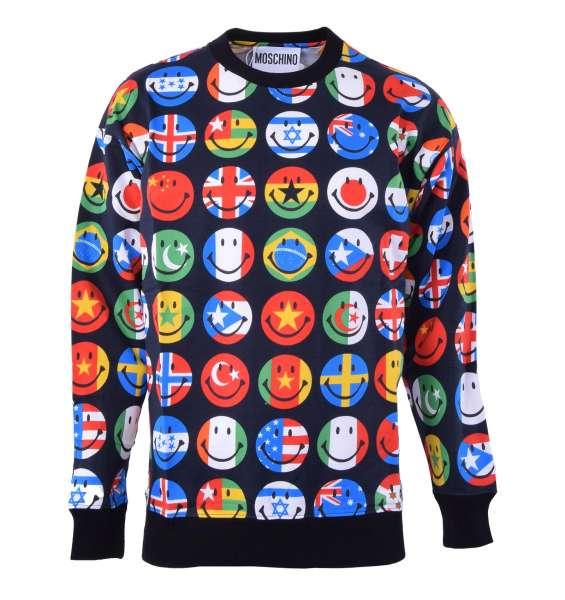 Pullover mit Aufdruck von Flaggen in Smiley Form von MOSCHINO COUTURE