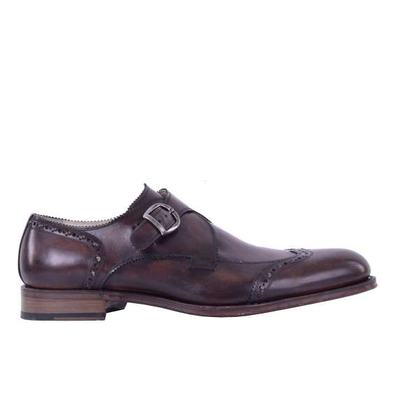 Stable calfskin derby shoes SIENA with side buckle by DOLCE & GABBANA Black Label