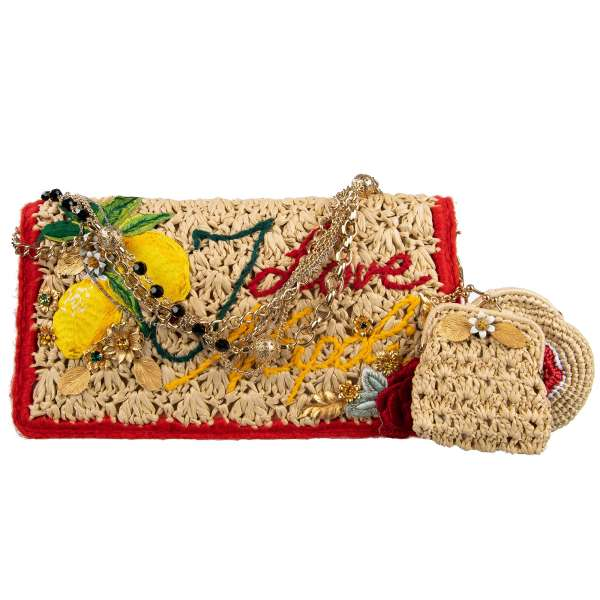 "Clutch / shoulder bag ROSA ""I Love Napoli"" made of wool and synthetic straw embellished with crystals, floral embroidery and messing applics by DOLCE & GABBANA Black Label"
