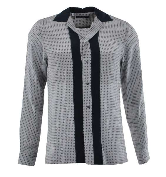 Silk Shirt Model RIVIERA with Polka Dots Print by DOLCE & GABBANA Black Label