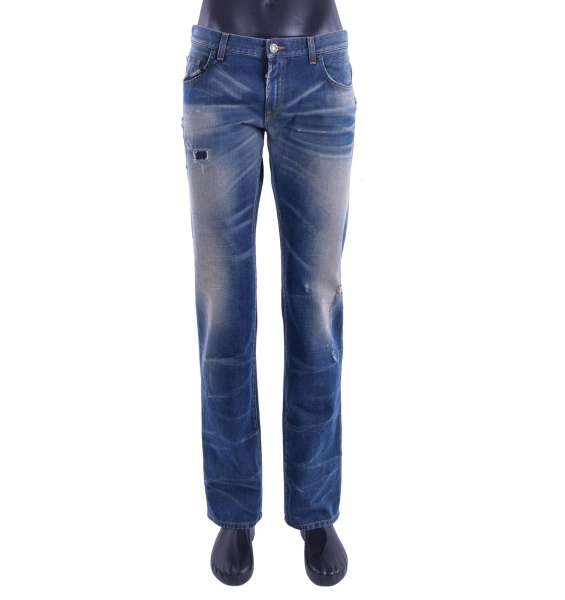 Slim Fit Distressed Jeans 14 GOLD with a logo plaque by DOLCE & GABBANA Black Line