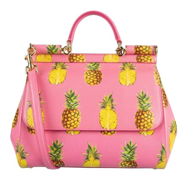 Dauphine Leather Tote / Shoulder Bag SICILY with small printed Pineapples and metal logo plate by DOLCE & GABBANA