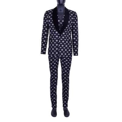 3-Pieces Crown Printed Suit Black