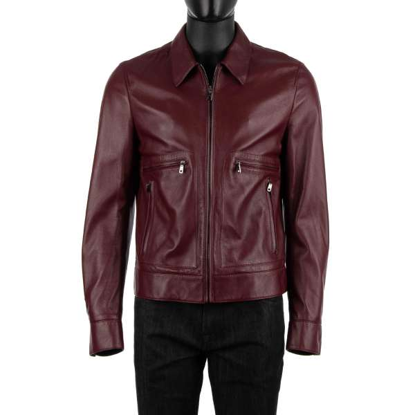 Bomber style leather jacket made of nappa leather with many pockets with zip fastening by DOLCE & GABBANA