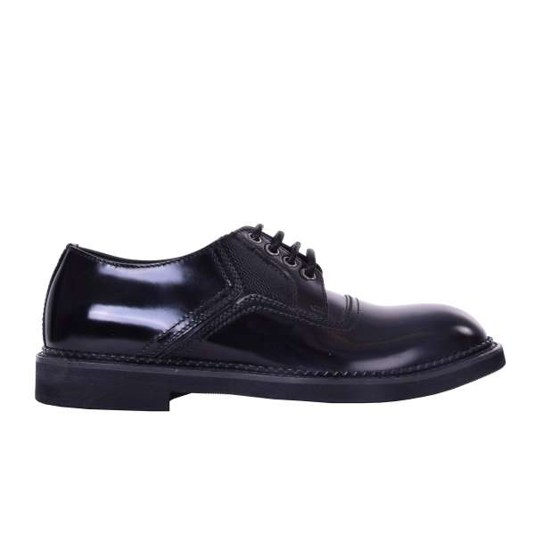 Derby shoes made of patent leather with elastic inserts by DOLCE & GABBANA Black Label