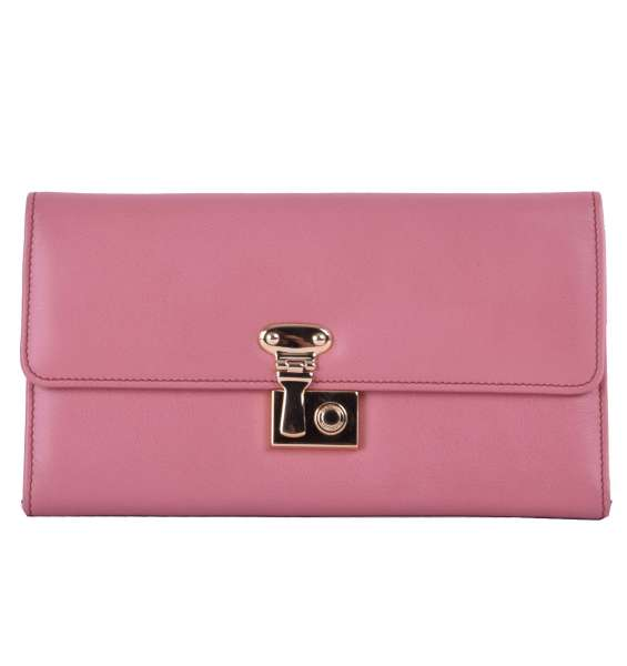 Long nappa leather continental wallet with french flap closure and logo detail by DOLCE & GABBANA Black Label