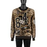 Leopard Printed Sweater with Jazz Samba Music Embroidery Black Brown